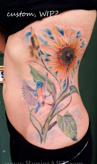 Humming bird & Sunflowers